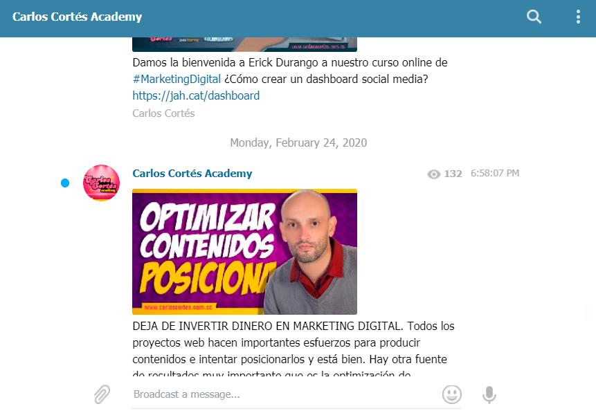 Grupo en Telegram de Carlos Cortés Academy