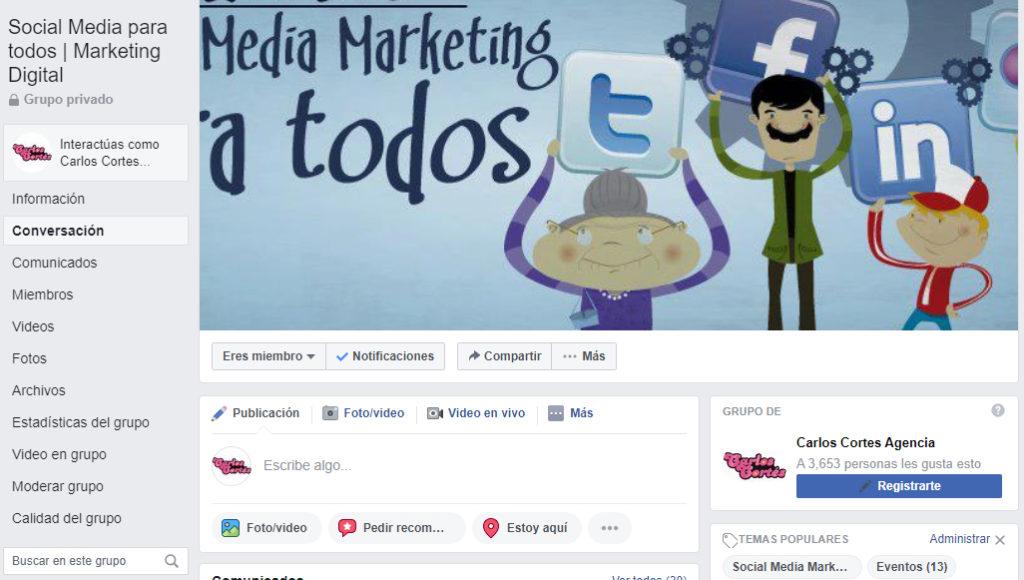 Grupo Social Media Marketing para Todos en Facebook