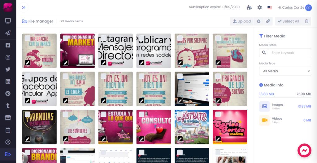 Buscador de medios, imágenes y videos de CM Metrix para redes sociales
